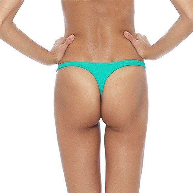 String Badpak.2018 Sexy Bikini Bottom Solid Vrouwen Badmode String Badpak Thong