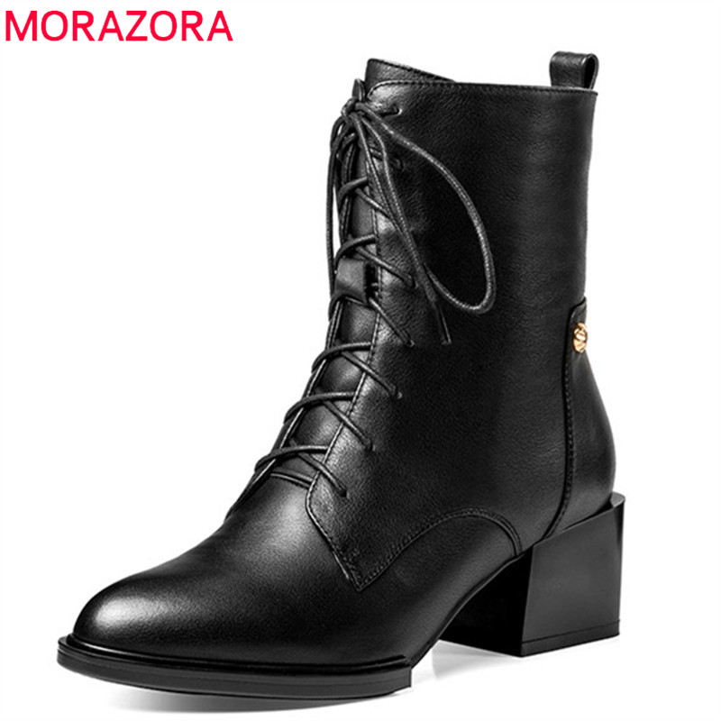 MORAZORA 2018 hot sale genuine leather ankle boots for women pointed toe autumn winter boots square heels fashion dress shoes MORAZORA 2018 hot sale genuine leather ankle boots for women pointed toe autumn winter boots square heels fashion dress shoes