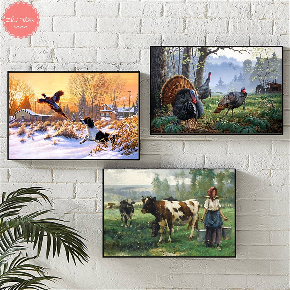 diamond painting Landscape Farm Dog Bird Deer Cow Animals diamond embroidery sale cross-stitch christmas decorations for home image