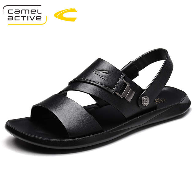US $41.0 50% OFF|Camel Active NEW Mens Shoes Cow Leather Men Sandals Summer Slipper Men Shoes Beach Air Cushion Buckle Gladiator Slip Sandals Men in