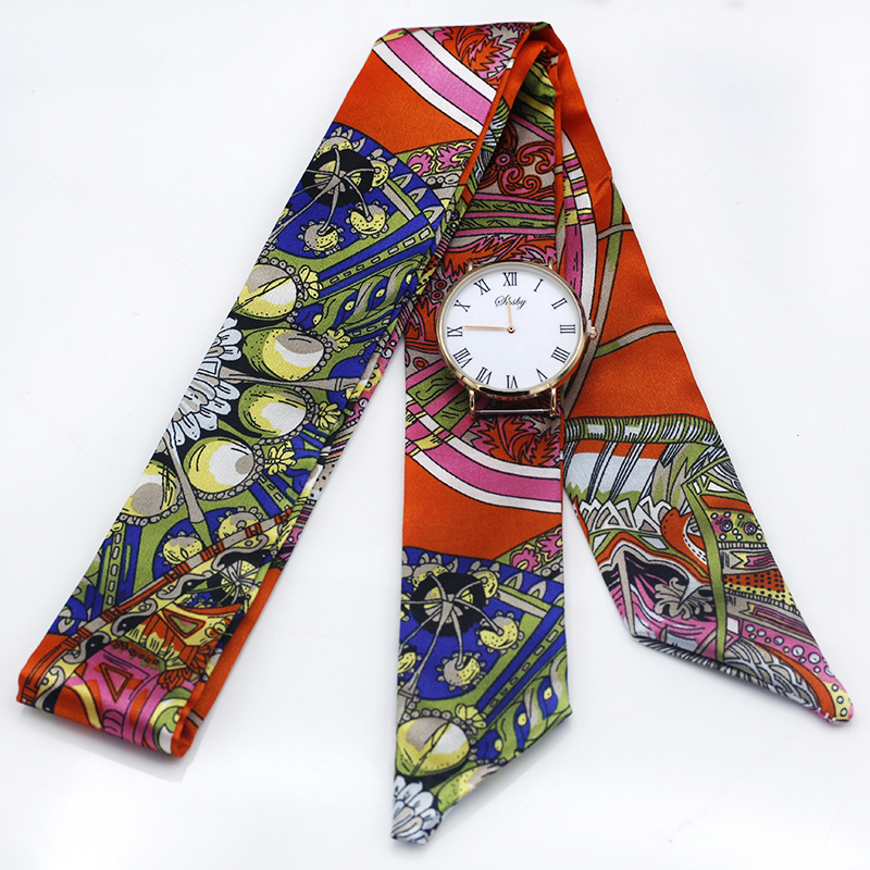 Shsby Ladies Flower Cloth Watch Bands Women Silk Scarf Girls Headwear Bag Decoration Ribbon Bracelet  Handle For Handbag