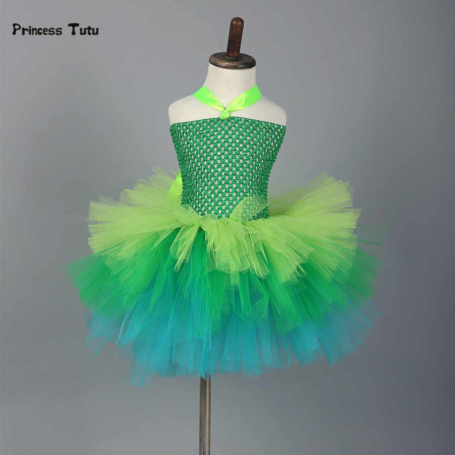 Girls Tutu Dress Tulle Fairy Princess Tinkerbell Dress Green Purple Cosplay  Halloween Party Costume Kids Lovely
