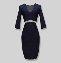 Free Shipping 2016 New Style Women Royal Blue 2 Piece Bandage Dress Long Sleeve Rayon