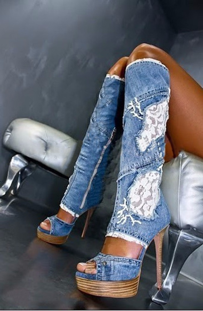 Woman Platform Wedge Boot Denim Blue Lace Flower Knee High Boots Open Toe Gladiator Sandal Boots Summer High Heel Boots cicime summer fashion solid rivets lace up knee high boot high heel women boots black casual woman boot high heel women boots