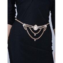 Sexy Gold Rhinestone Crystal Gem Belt Waist Belly Body Chain Jewelry