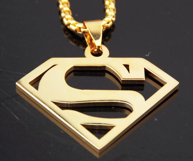 High Quality Stainless Steel Gold Superman Pendant Necklace Rolo