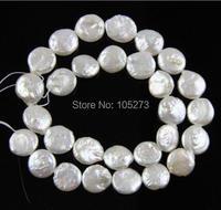 Monety Słodkowodne Perły, 12-13mm Ivory Biały Coin Pearl, Płaskie Okrągłe Monety Koraliki, Monety Strand
