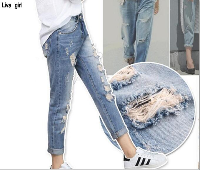 Wholesale 2017 new bf street hole in the waist jeans girl was thin loose Korean version