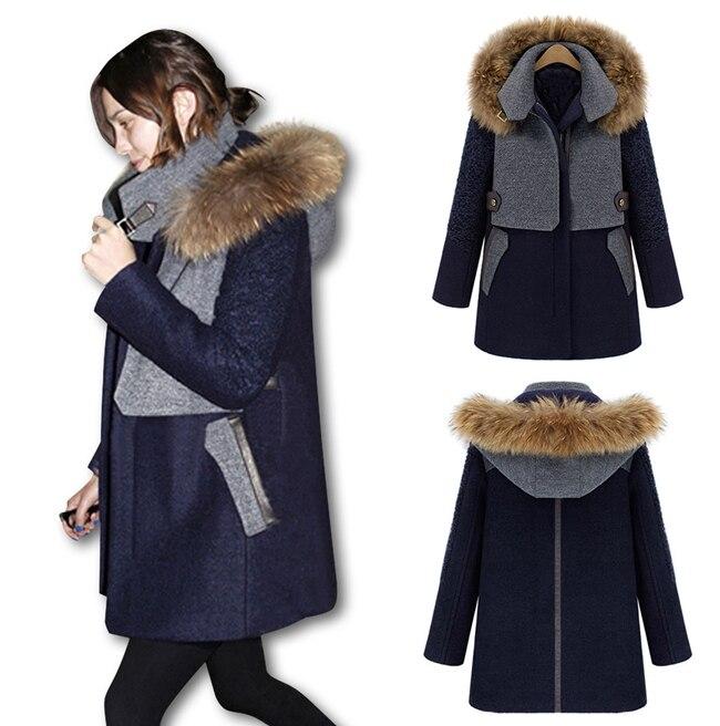 2015 Femmes Womens Raccoon Fur Collar Hooded Wool Trench Coat Parka Winter Jacket S M L XL 2XL 2080  -  Shenzhen Gache Trading Limited store