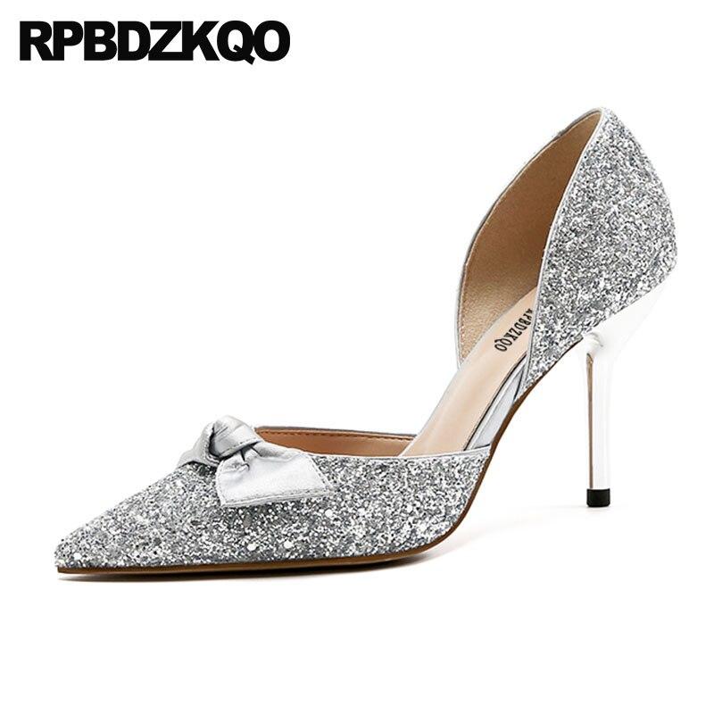 где купить Bride 3 Inch Ladies Gold Party High Heels Sparkling Sandals Bow Pumps Shoes Blue Size 4 34 Silver Pointed Toe Stiletto Glitter по лучшей цене