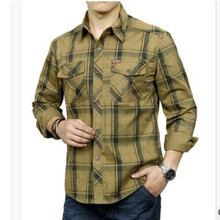 Spring autumn men's cotton large size long sleeve cardigan plaid shirts military tactical combat turn down collar tartan blouse