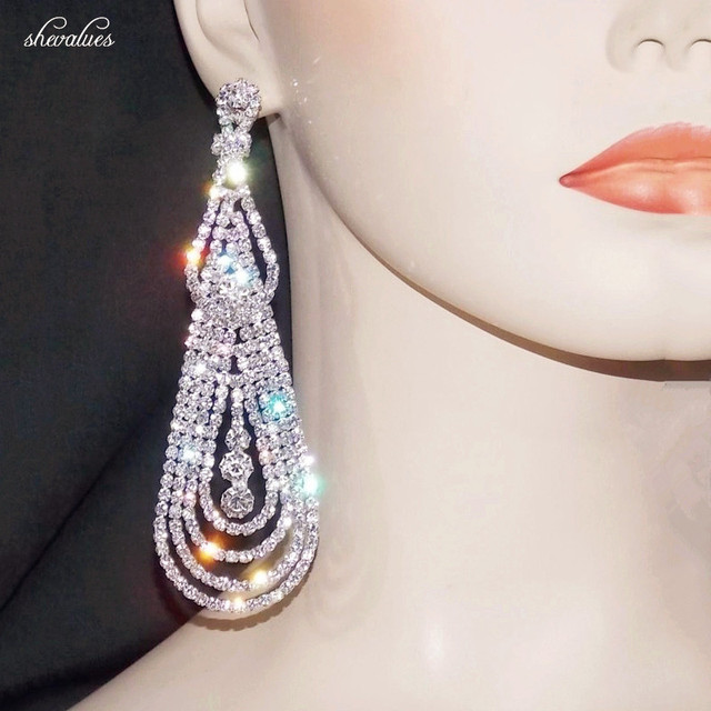 Shevalues Luxury Ab Diamante Rhinestone Tel Earrings Silver Crystal Chandelier Drop Teardrop Statement
