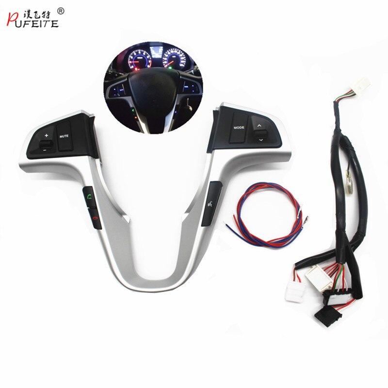Botón de volante PUFEITE para Hyundai VERNA SOLARIS volante audio volumen música botón interruptor