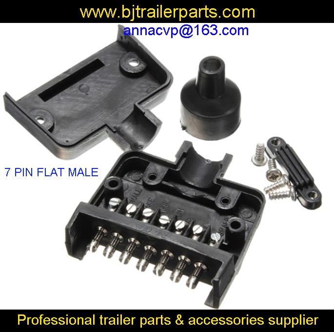 7 Pin Flat Male Trailer Plug Connector Socket for Auto Caravan RV Boat Truck