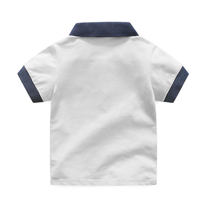 2pcs/set Children Boys Clothes Set White Lapel Polo Shirts T-Shirts+Short Jeans Leisure Sports Outfits Suits Boys Clothing 2-7Y