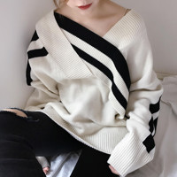 2018 Autumn Winter Women Hollow Cross Stripe Stitching Loose V Neck Sweater Thickened Base Sweater