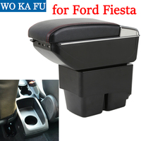 for Ford Fiesta Mk6 armrest box universal car center console caja modification accessories double raised with USB