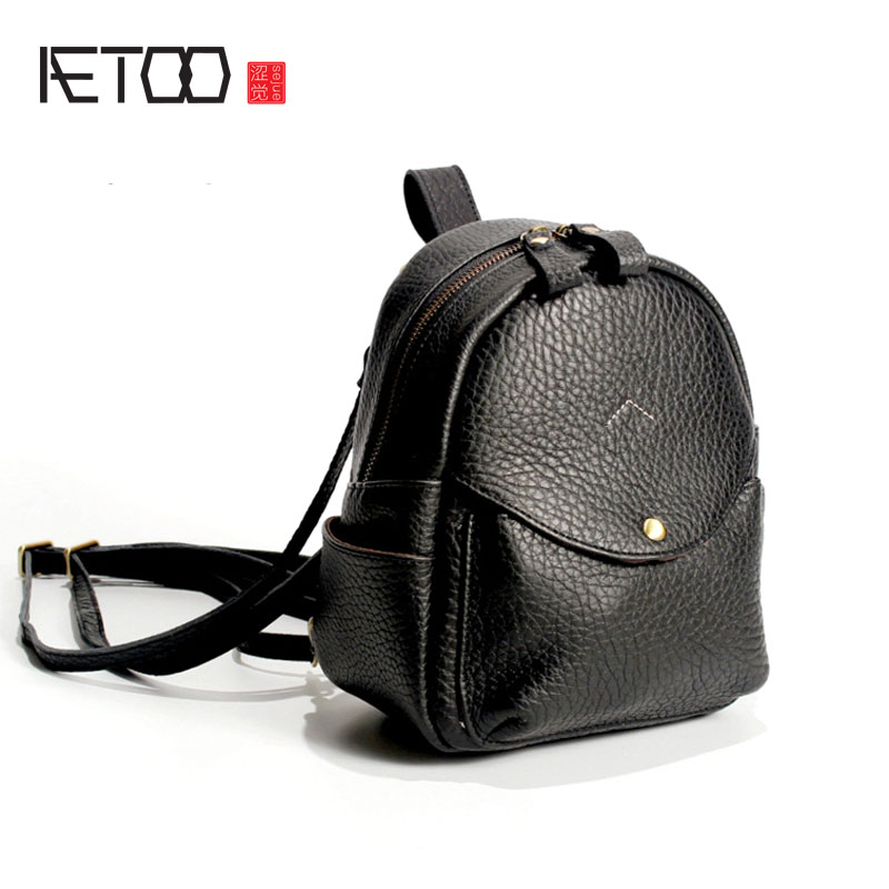 AETOO New leather backpack women's first layer leather college wind mini backpack Japan and South Korea a bag of versatile aetoo japan and south korea personality first layer of planted tanned leather handbags handmade wiping shoulder bag computer