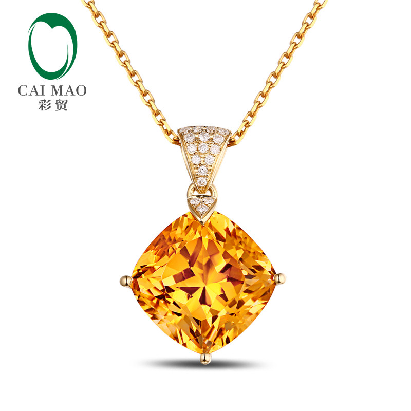14K Yellow Gold Cushion 7.2ct Natural Citrine & 0.09ct Round & Brilliant Cut Diamond Engagement Gemstone Pendant Jewelry boxpop lb 029 35