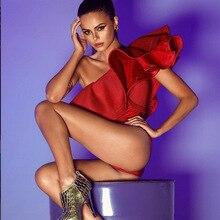 Pofunuo женщин сексуальное боди Новинка 2017 года дизайн с плеча сетки Летний комбинезон Комбинезон пляжный отдых комбинезон красный Топы с рюшами