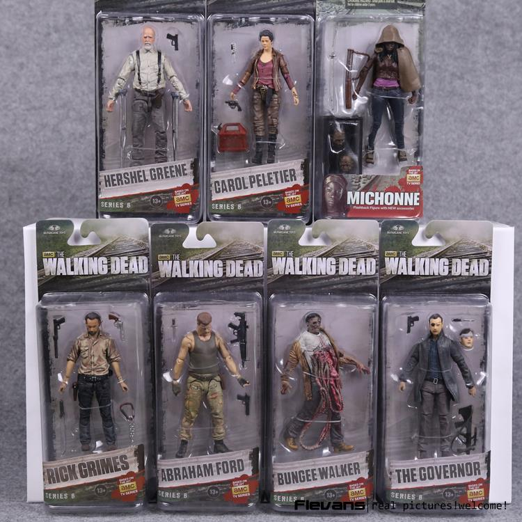 AMC TV Series The Walking Dead Abraham Ford Bungee Walker Rick Grimes The Governor Michonne PVC Action Figure Model Toy 7 Styles the walking dead the fall of the governor part one