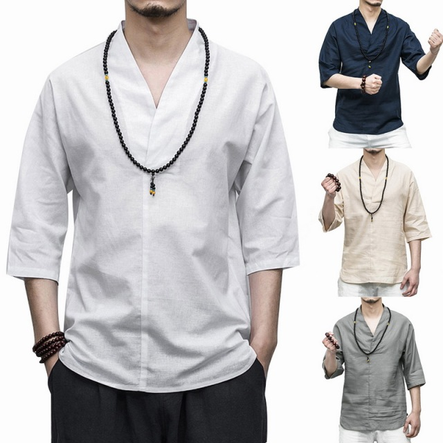 da1a1f940 HEFLASHOR Retro Style Solid Cotton Linen Shirts Men V-Neck Chinese Style  Tops 3/
