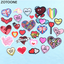 ZOTOONE Iron on Patch Heart Embroidered Patches for Clothing DIY Stripes Applique Clothes Bags Stickers Badges C