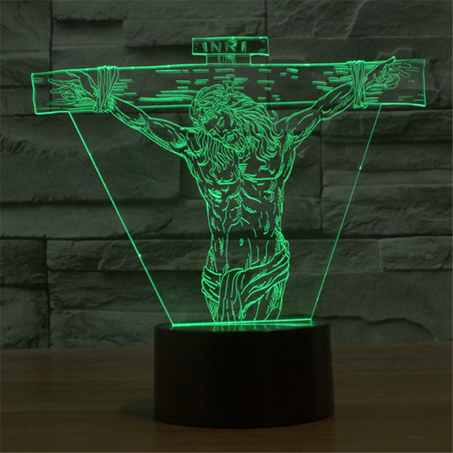 Colorful USB-3D LED Jesus Auditorium Flag Decoration Lights  Office  Table Lamp Child Christmas Bedroom LED Night Lights 3D-TD48