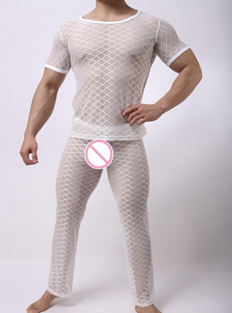 Underwear & Sleepwears Men's Pajama Sets Fashion Mens Mesh Argyle Transparent Sleep Pajama Sets Sexy Bodybuilding Short T Shirts And Long Pants