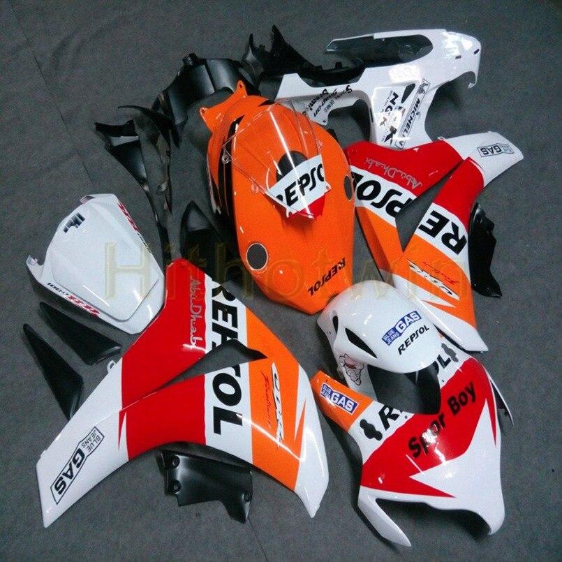 Artículo de motocicleta personalizado para HONDA cbr1000cr 2008 2009 2010 2011 CBR 1000 HR carenados + Botls + molde de inyección naranja blanco M2