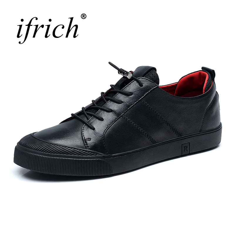 2018 Spring Summer Leather Casual Shoes Men Black Elastic Band Brand Sneakers Black Leather Footwear for Men glowing sneakers usb charging shoes lights up colorful led kids luminous sneakers glowing sneakers black led shoes for boys