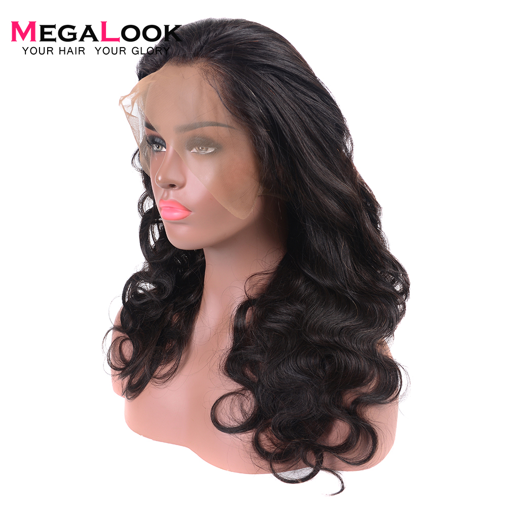 26inch 180% Density 360 Lace Front Wig Brazilian Body Wave Human Hair Lace Front Wig Plucked with Baby Hair Natural Color Remy