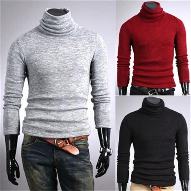 a09563aa2 Mens Thermal Cotton Turtle Polo Neck Skivvy Turtleneck Sweater Shirts