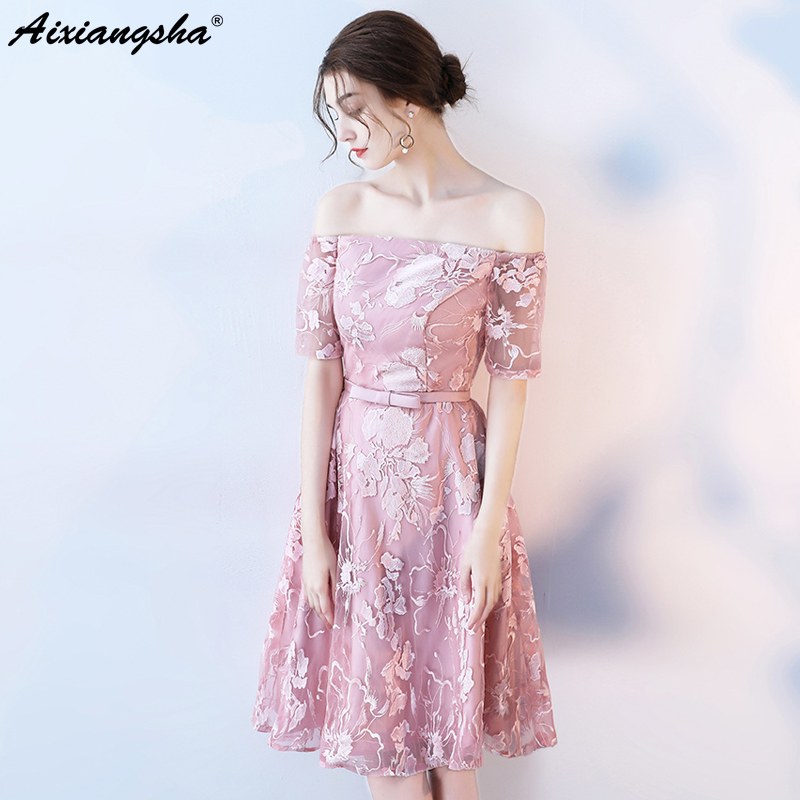 c78c61629 2018 Tulle New arrival A-Line Knee-Length Boat Neck Half Sleeve Customized  Appliques Elegant Prom Dresses Fairy Style Flower