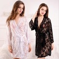 Free Shipping Transparent Intimates Women Robes Female women's Lace Sexy Sleepwear Bathrobes Spring And Summer Lingerie Sets