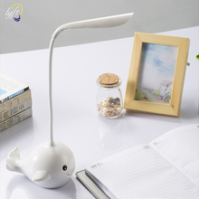купить LYFS LED Touch Dimming Folding Hose Reading Eye Desk Lamp USB Charging For Study Bedroom Small Fish Styling Table Lamp дешево
