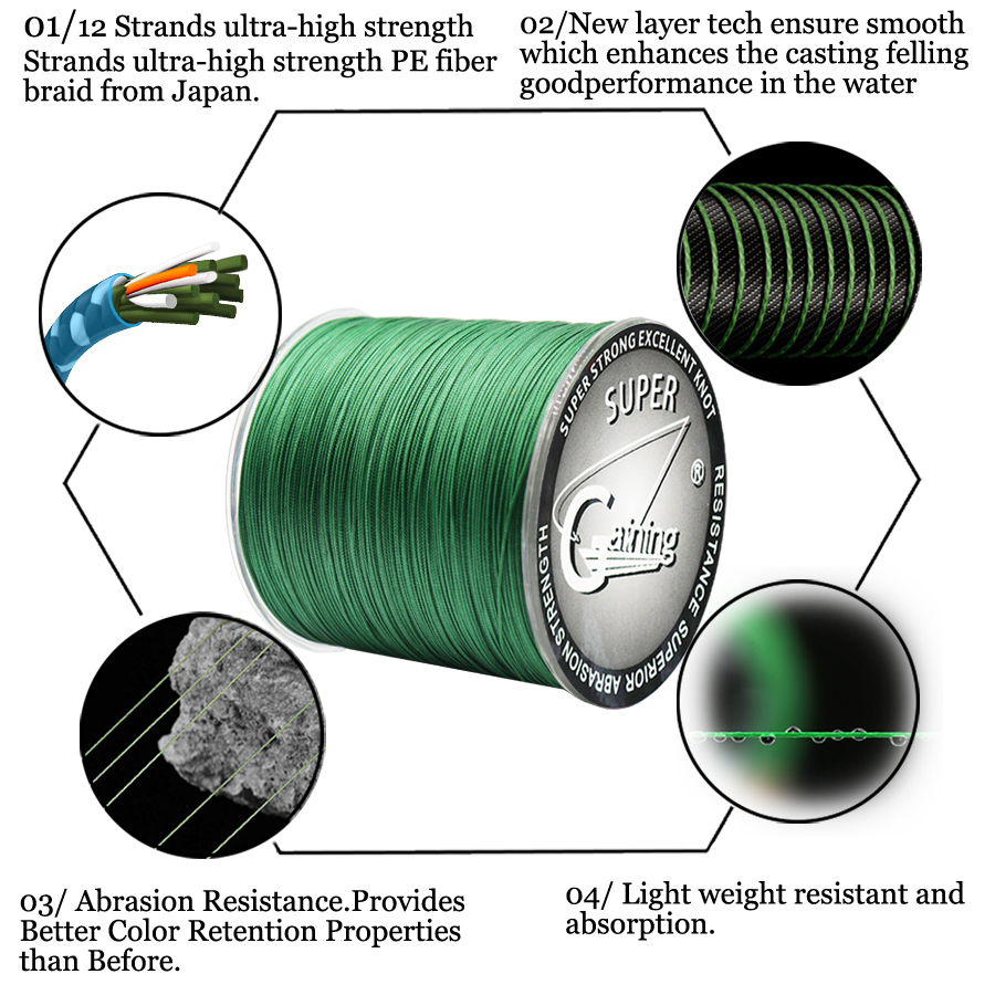 Image 2 - Gaining Fishing line 12 Strand 300m 35 180LB Moss Grey Multifilament Smooth PE Braided Fishing Line Freshwater/Saltwater Fishing-in Fishing Lines from Sports & Entertainment