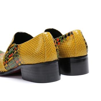 Crocodile Mens Chaussures   Crocodile Motif Mode Décontracté Show Hommes Chaussures Orteils Pointus Sans Lacet Carrière Travail Hommes Chaussures Club Bar Fête Chaussures Grands Yards 45 46