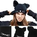 Зима Кошачьи Уши Вязание Теплая Шерсть Шляпа Моды Милые Плетеные Skullies Hat Женщины Крючком Лыж Cap