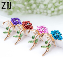 ZN 2018 New1 PCS Red Rose Flower Brooch Garment Accessories Wedding Bridal Jewelry Crystal Brooches for Men /Women