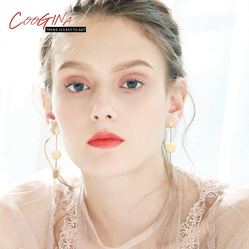 Coogina 2018 Высокое качество Новый Европейский кисточкой модели дикие серьги женские Геометрические простые шпильки сплава покрытие серьги ух...