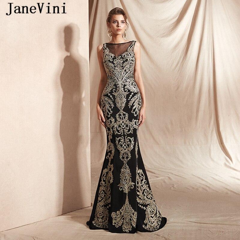 JaneVini 2019 Saudi Arabic Black Mermaid   Prom     Dresses   Sleeveless Shiny Gold Lace Appliques Beaded Satin Long Sexy Evening Gowns