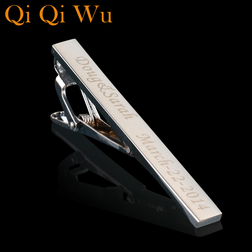 Qi Qi Wu Personalizuar Tie Silver Silver Tip Clip Për bizhuteri për burra Përshtatur gdhendur bar kravatë Emër kravatë shirit