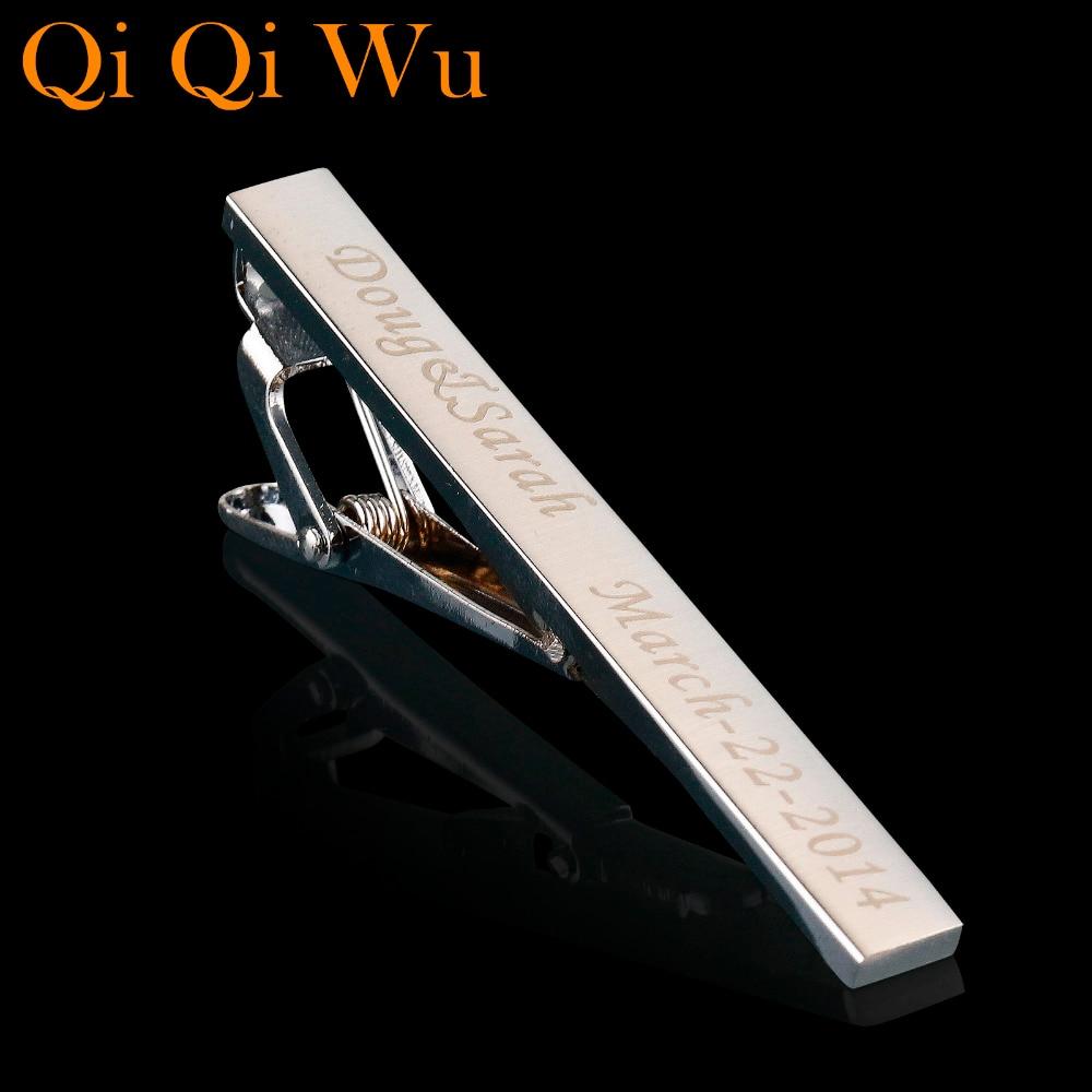 Qi Qi Wu Εξατομικευμένη προσαρμοσμένη ασημένια γραβάτα γραβάτα για τα κοσμήματα των ανδρών Προσαρμοσμένο χαραγμένο όνομα Γραβάτα γαμήλια δώρα γαμπρός άνδρες δεσίματος