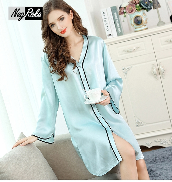 f664d5fbe Lago azul mangas 100% seda nightshirts mulheres fresco elegante vestido de  noite sexy qualidade camisola