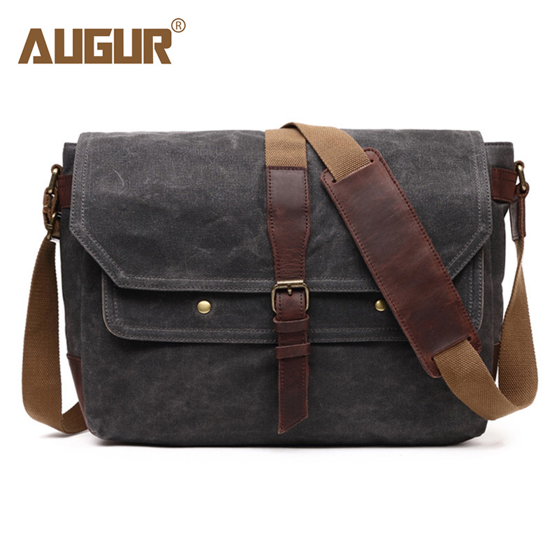 AUGUR Vintage Shoulder Bag Canvas Casual Men's Messenger Bags Waterproof Business Briefcase Crossbody Bag Travel Handbag