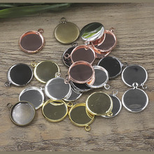 10pcs/lot 10 12 14 16 18 20 25mm Silver/Gold/Black/Rhodium/Bronze Copper Blanks Charms Trays Pendant Base Cameo Cabochon Setting mibrow 10pcs lot stainless steel 8 10 12 14 16 18 20mm blank french lever earring tray cabochon setting cameo base jewelry