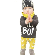 2017 Baby Boy Clothing Set Spring Fashion WILD BOY Letter T shirt+Reindeer Pants 2pcs Little Girl Sets Cute Boy Costume For Kids