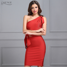 2017 Autumn New Arrival Bandage Women's Dress Red Damascus Black One-shoulder Tassel Celebrity Runway Party Dress Casual Dresses