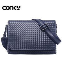 Men Genuine Leather Messenger Bags Handmade Weave Cover Shoulder Bags Male Crossbody Briefcase Quality Business Cowhide